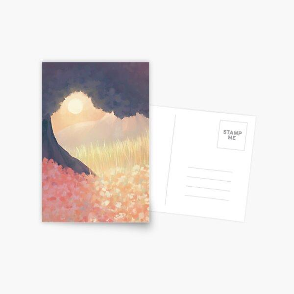Abstract Watercolour Sun Over Field Card Design Postcard