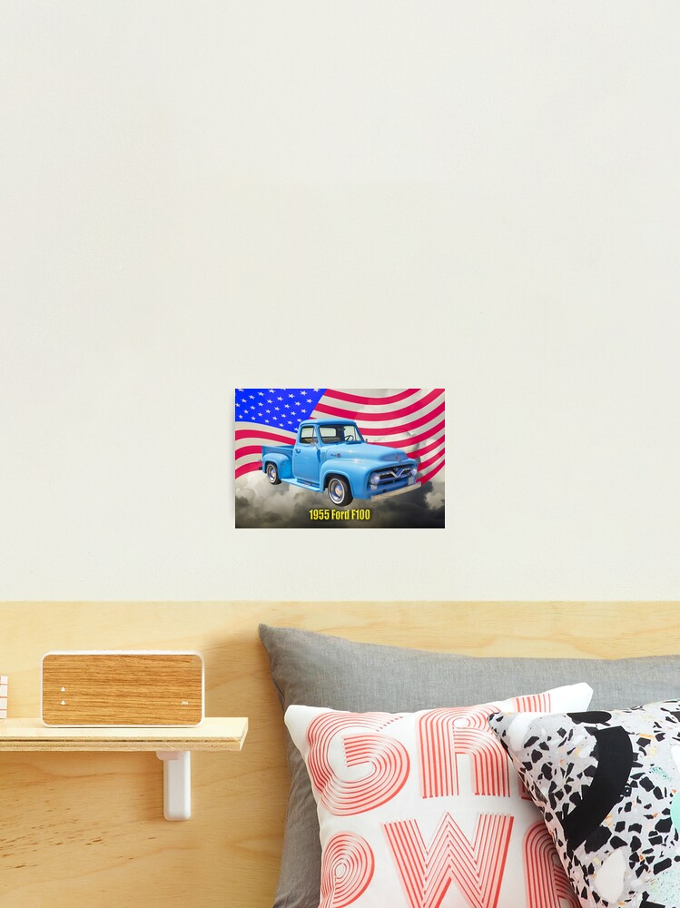 1955 F100 Ford Pickup Truck With Us Flag Photographic Print By Kwjphotoart Redbubble