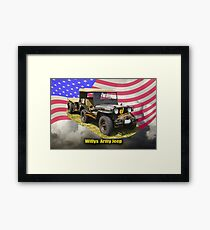 Willys World War Two Army Jeep and American Flag Framed Print