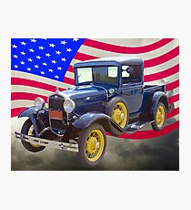 1930 Model A Ford Pickup And American Flag Photographic Print