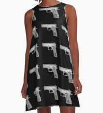 Handgun under x-ray  A-Line Dress
