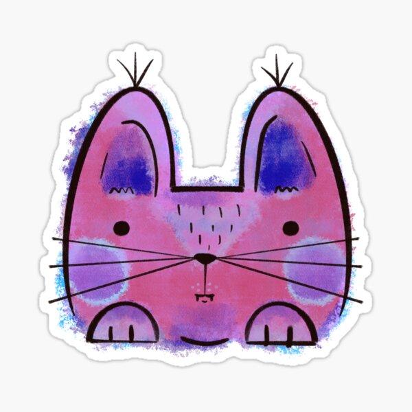 Purple Funny Cat Sticker