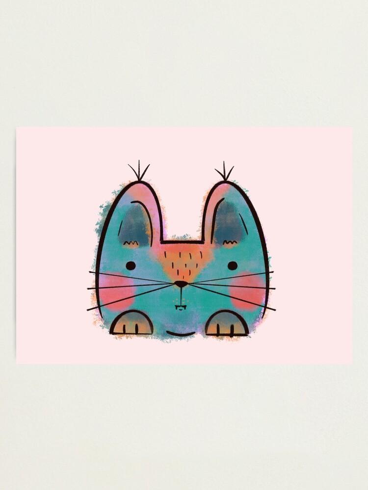 Alternate view of Rainbow Funny Cat Photographic Print