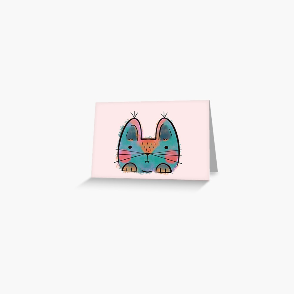Rainbow Funny Cat Greeting Card