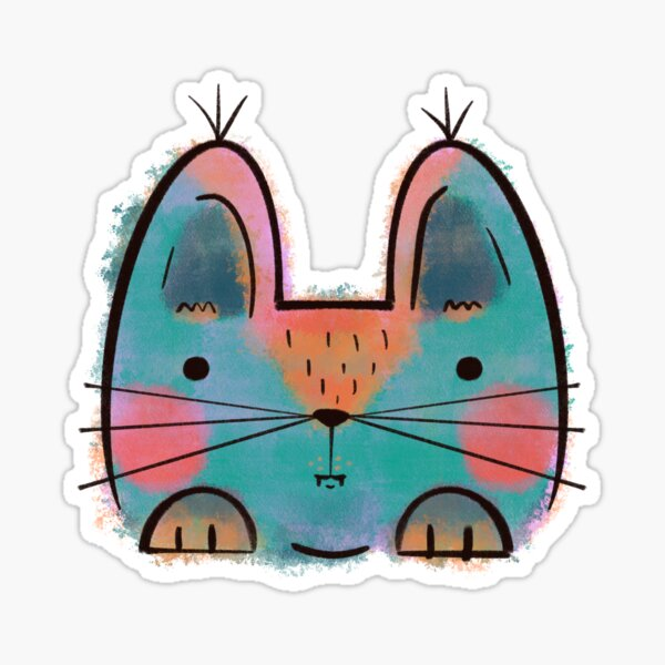Rainbow Funny Cat Sticker