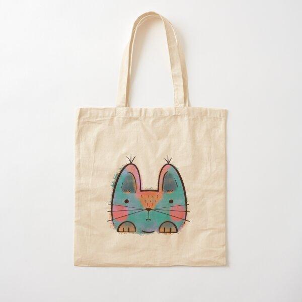 Rainbow Funny Cat Cotton Tote Bag