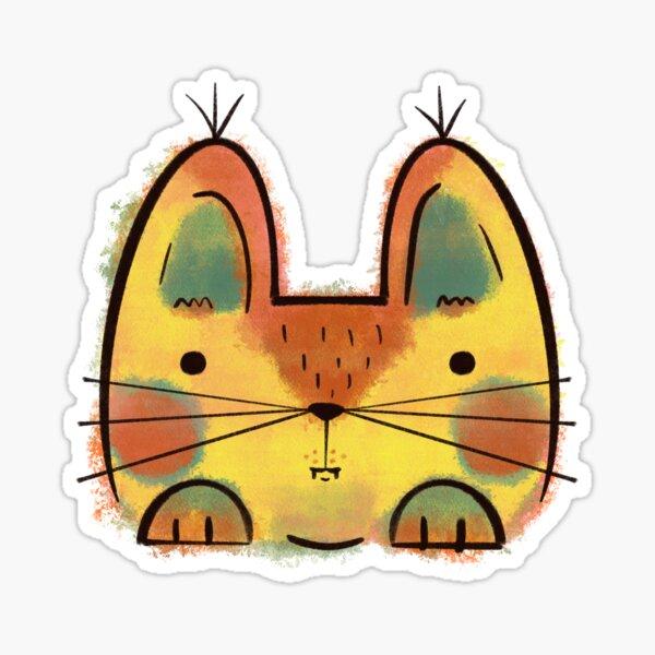 Yellow Funny Cat Sticker