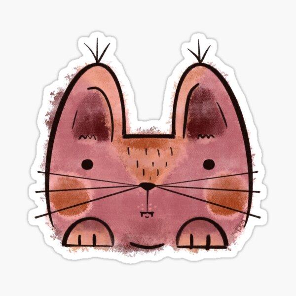 Purple brown Funny Cat Sticker