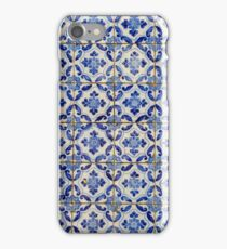 Portuguese tiles. Blue flowers and leaves iPhone Case/Skin