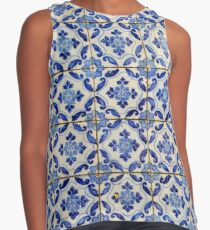 Portuguese tiles. Blue flowers and leaves Contrast Tank