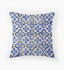 Portuguese tiles. Blue flowers and leaves Throw Pillow