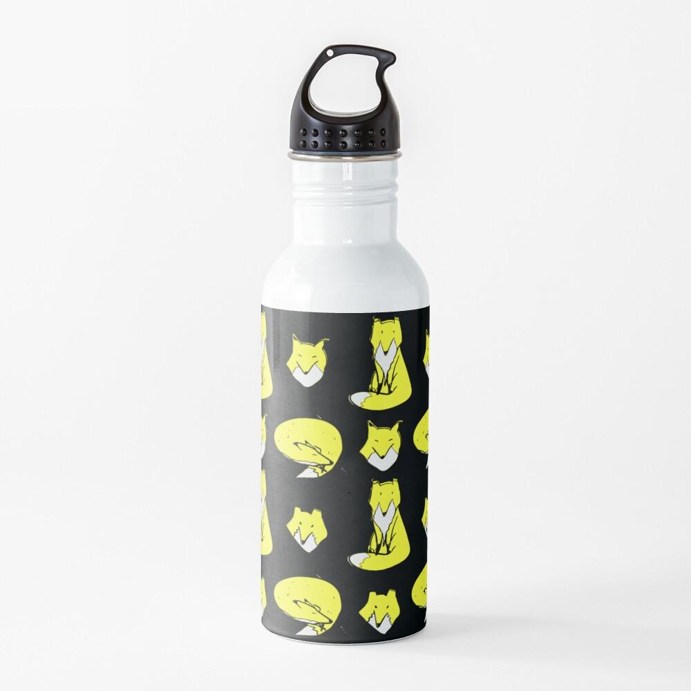 Yellow Blue Fox pose Water Bottle