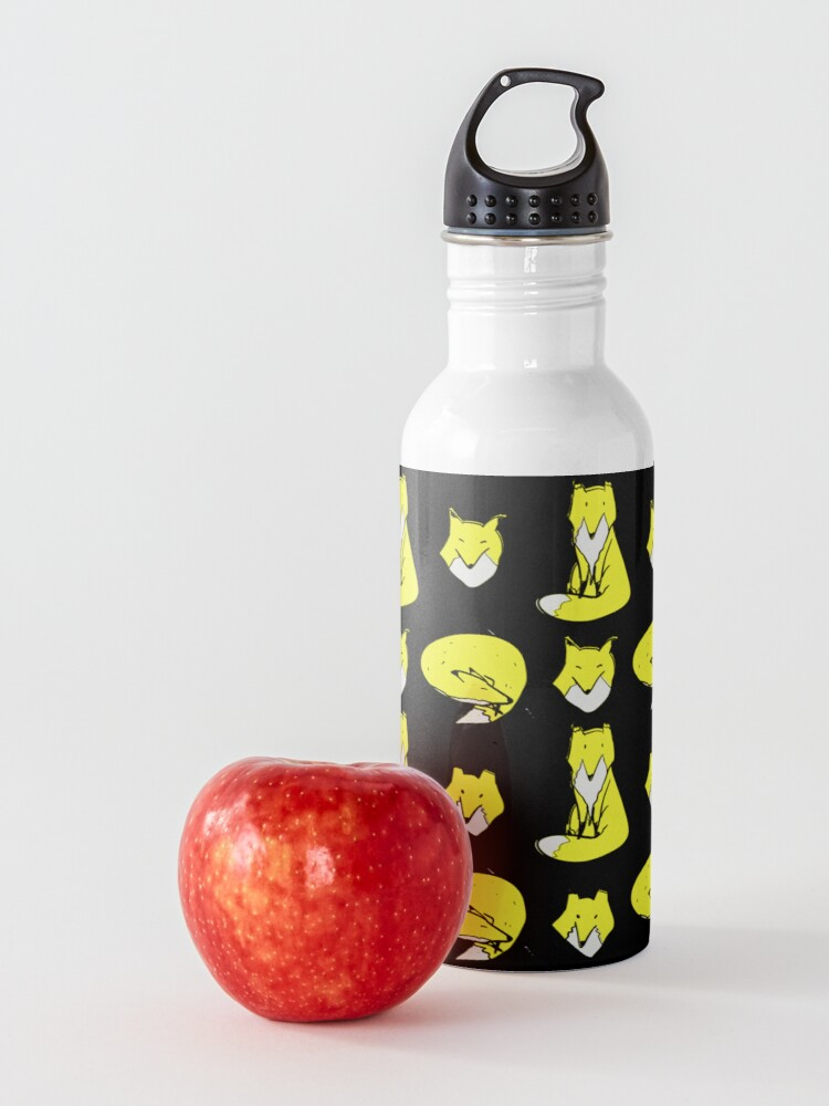 Alternate view of Yellow Blue Fox pose Water Bottle