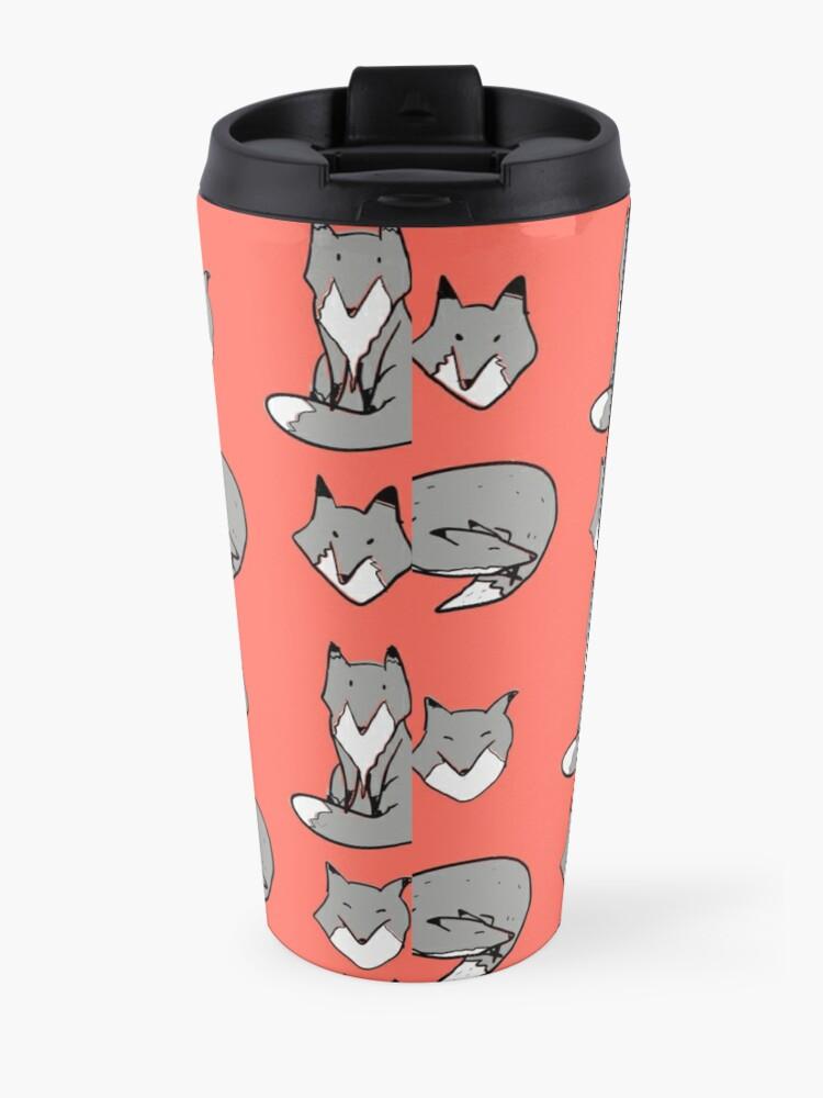 Alternate view of Black & White Fox pose Travel Mug