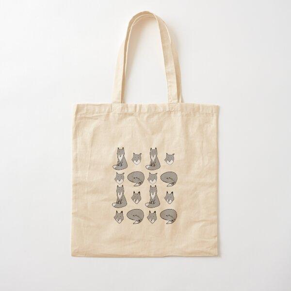 Black & White Fox pose Cotton Tote Bag