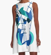 Blue abstraction A-Line Dress