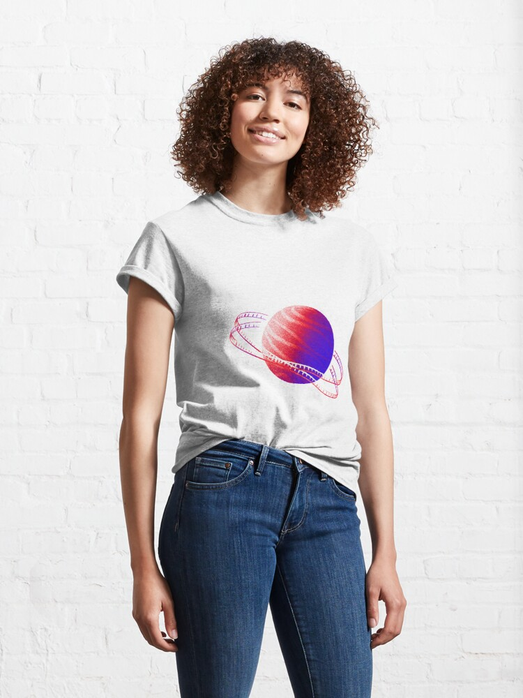 Alternate view of Neon Red & Blue Saturn Film Classic T-Shirt