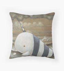 Beached Narwhal Throw Pillow