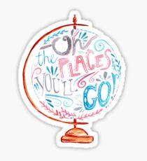 Oh, die Orte, die du gehen wirst - Typografie Vintage Globe in Pink Blue Grey Sticker