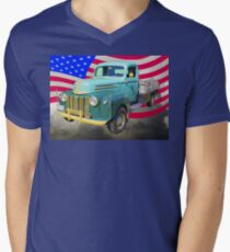 Old Flat Bed Ford Work Truck And American Flag T-Shirt