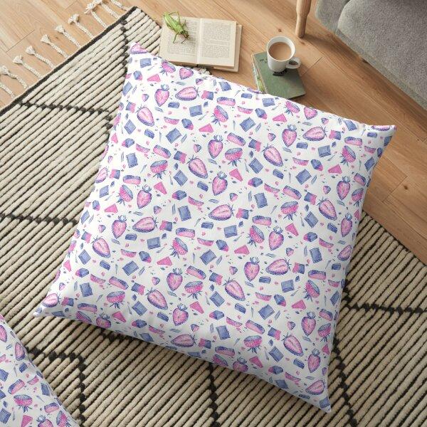 Patrón de fresas y chocolate en azul y rosa Cojines de suelo