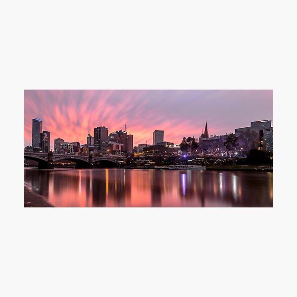 Princes Bridge Sunset, Melbourne Photographic Print