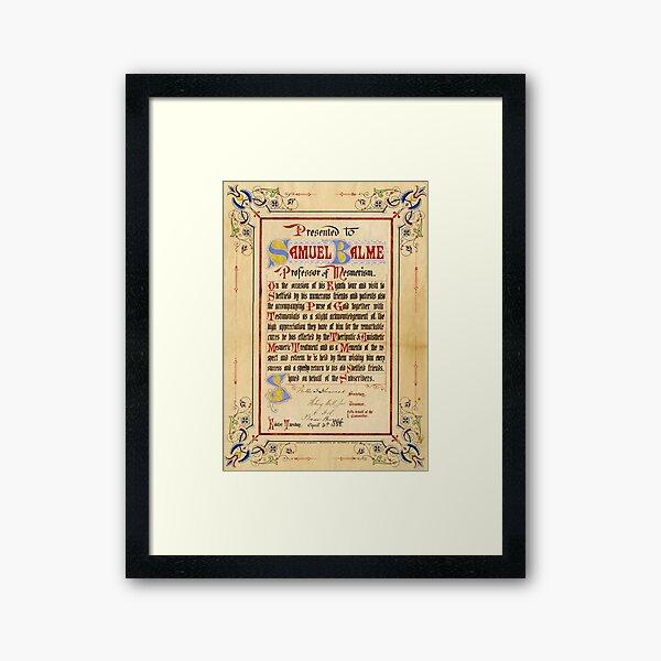 Mesmerism certificate, 1888 Framed Art Print