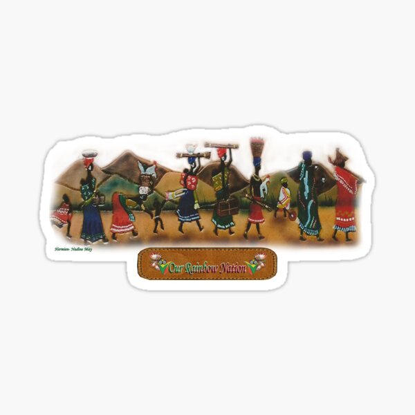African procession - in leather Sticker