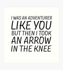 Elder Scrolls Skyrim Funny Quote Arrow To The Knee Art Print