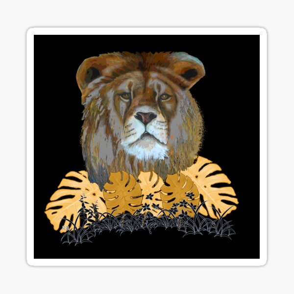 Lion with Gold Leafed Plants Sticker