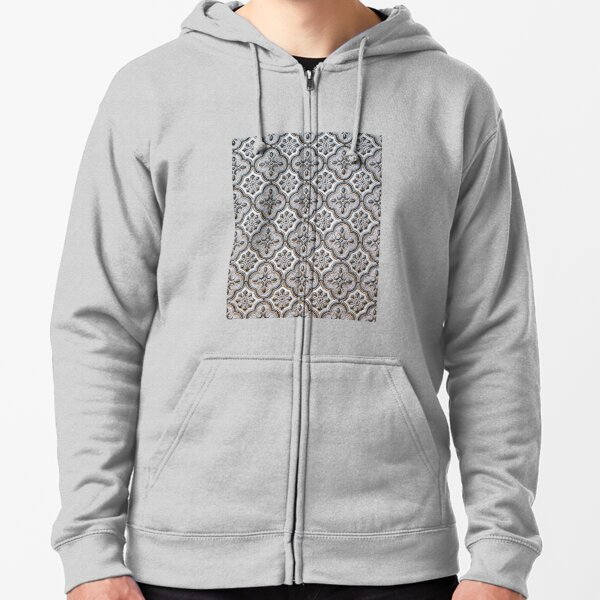 moroccan mosaic black and white Zipped Hoodie