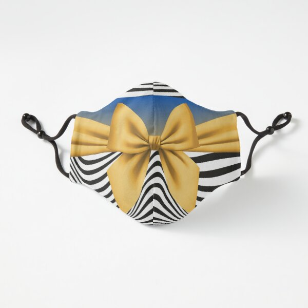Gold Bow and Zebra Stripes  Fitted 3-Layer