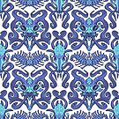 Monster Damask (blue) by Swirlything