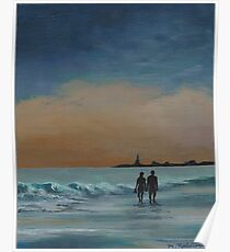 Sunset Stroll on the Shore Poster