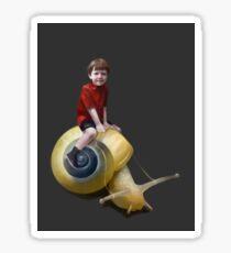 Boy on a snail Sticker