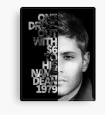 Team Free Will Series - Dean Winchester  Canvas Print