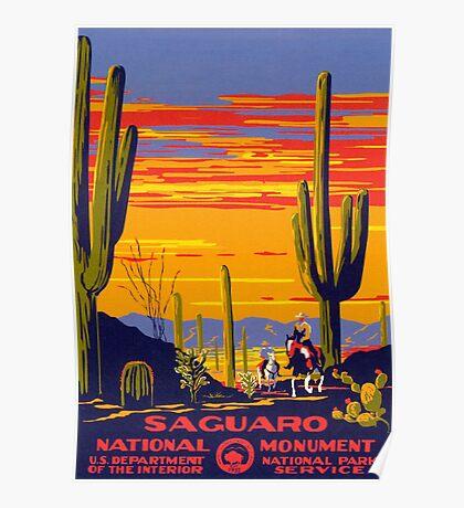 Saguaro National Park Vintage Travel Poster Poster