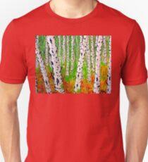 A Walk Through the Trees Aspen Quaken Quaking Grove Forest Rocky Mountain Colorado Strong Autumn Fall Colors Yellow Green Red Orange White Black Peaceful Bold Beautiful Unisex T-Shirt