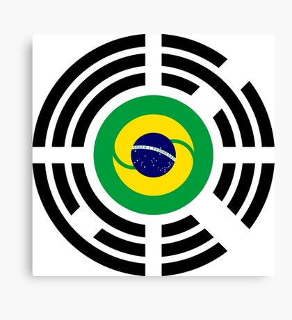 Korean Brazillian Multinational Patriot Flag Series Canvas Print