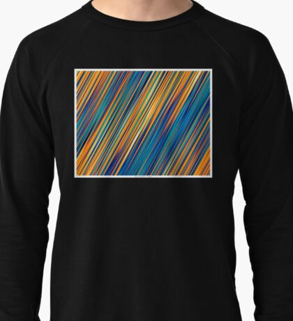 Color and Form Abstract - Striped Line Rain of Yellows and Blues Lightweight Sweatshirt