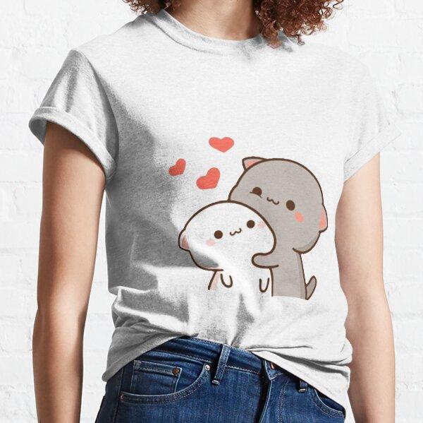 lindo gato mochi melocotón Camiseta clásica