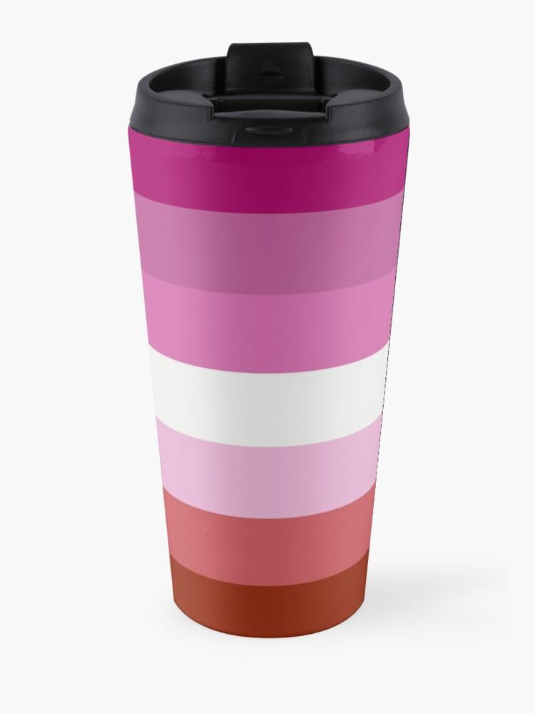 Vista alternativa de Taza de viaje Bandera lesbiana