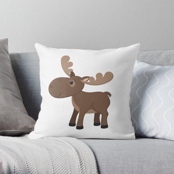 Cartoon Moose Throw Pillow