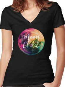 Moon Child  Women's Fitted V-Neck T-Shirt