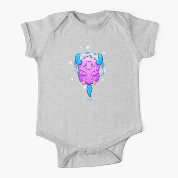 Cute Burly Friendly Monster Short Sleeve Baby One-Piece