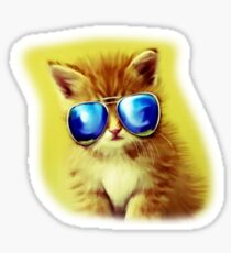 Cute Kitty with Sunglasses Sticker