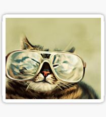 Cute Cat With Glasses Sticker