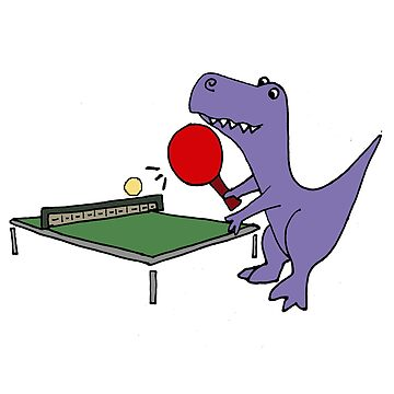 Cool Funky Purple T-Rex Dinosaur Playing Table Tennis by naturesfancy