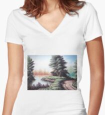 Nature in pale color Women's Fitted V-Neck T-Shirt