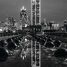 Dallas Reflection in Rain BW by josephhaubert